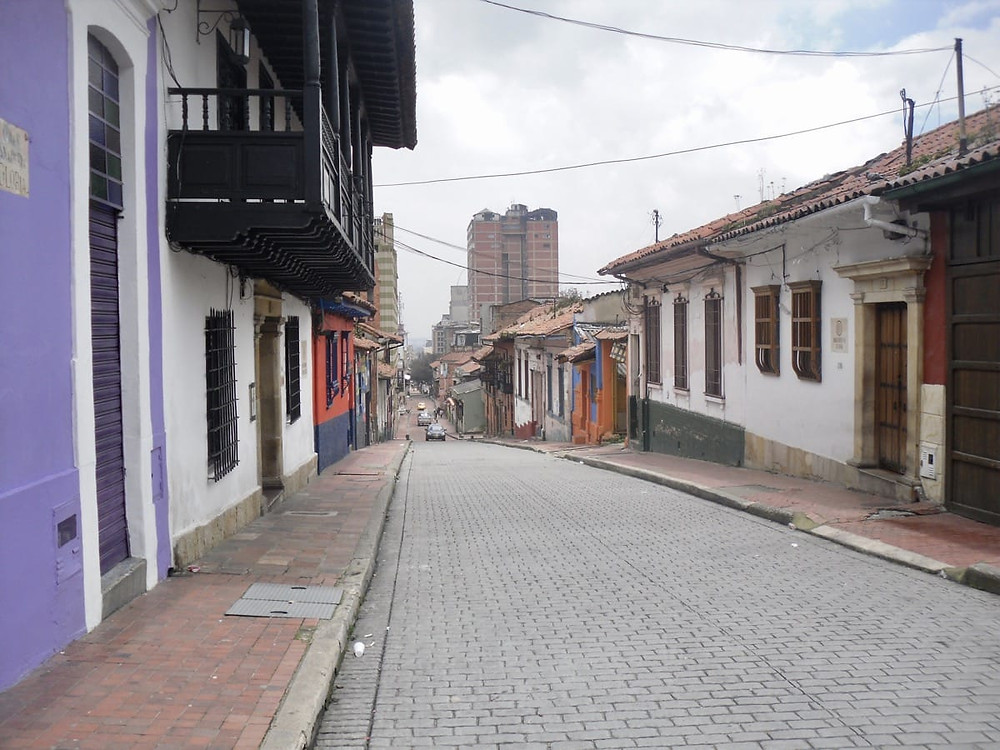 The purple wall is our hostel in Bogota in Colombia