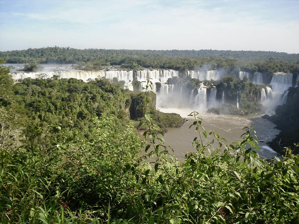 Water cascading at Iguazu Falls in Argentina