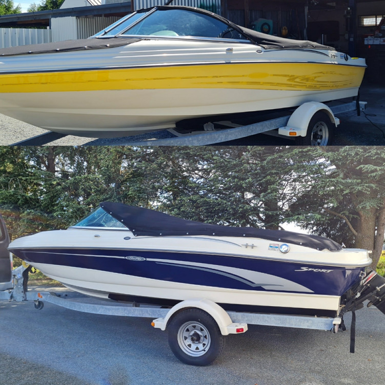 Before and after of the Sea Ray boat wra