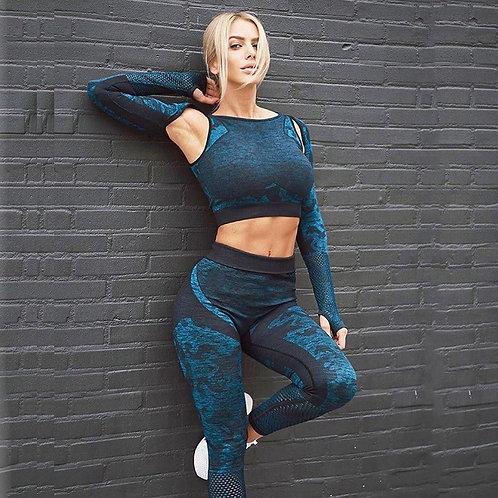 Camo Yoga Set Women Seamless Fitness Camouflage Gym