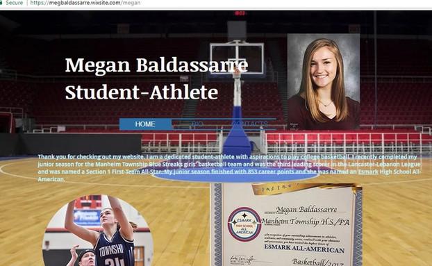 Athlete website for Meg Baldassarre
