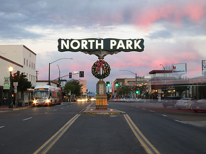 This is a picture of North Park at dusk.