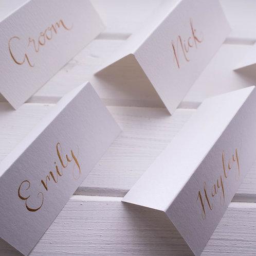 White Wedding Name Cards