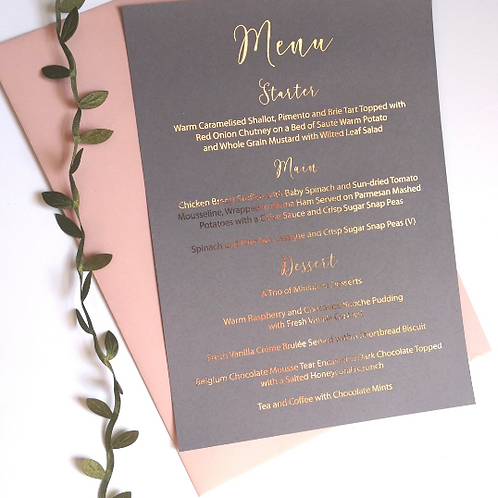 Foiled Wedding Menu with Foil Finish