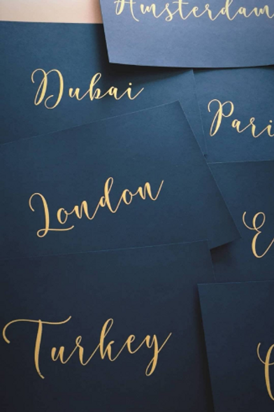 A6/A5 Navy Blue Table Number Cards