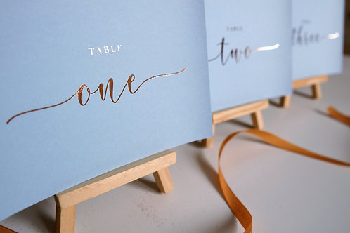 A6/A5 blue table number cards | Rose gold foil