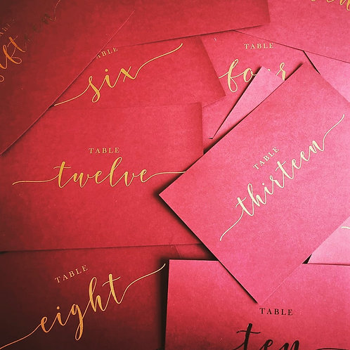 A6/A5 burgundy table number cards | Rose gold foil