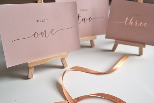 A6/A5 pink blush table number cards | Rose gold foil