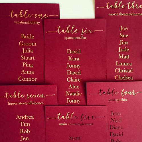 Gold Foil Table Plan Number Cards