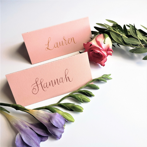 Blush Pink Wedding Name Cards