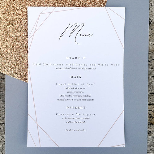 A5 Printed Wedding Menu with Gold Design