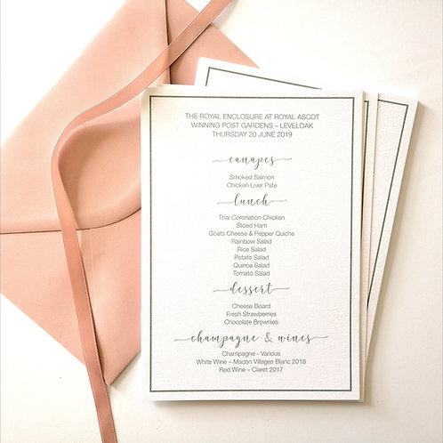 A5 Printed Wedding Menu