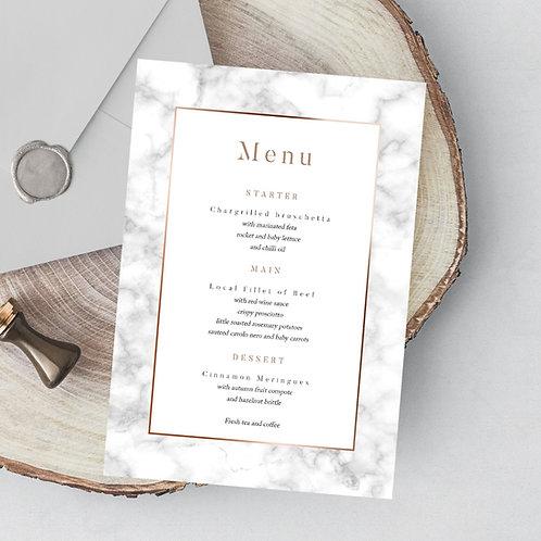 A5 Printed Wedding Menu with Marble Design