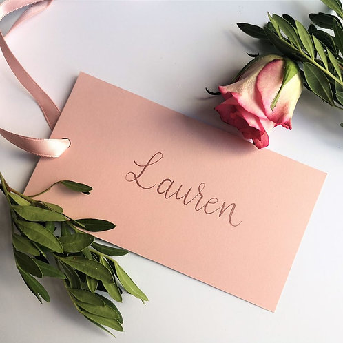Flat place cards | Ribbon tied