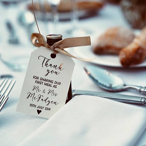 Personalised First Meal/Wedding Favour Foiled Wedding Tags