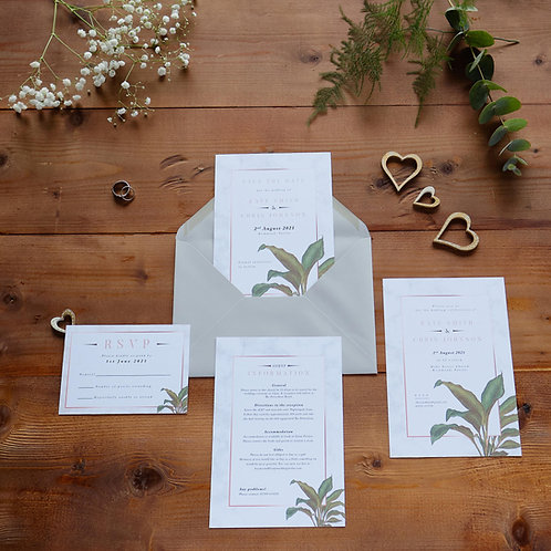 Tropical Marble Invitation Set