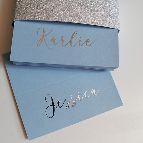 Blue place cards with silver foil