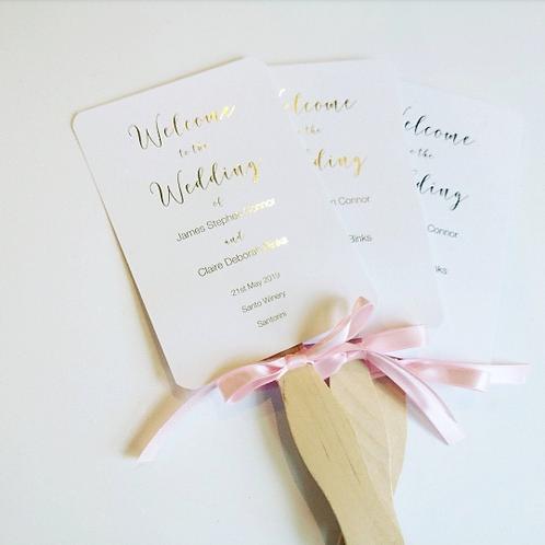 Handmade Foiled Wedding Fans