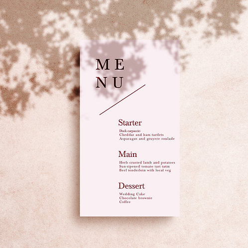 Printed Wedding Menu | DL size