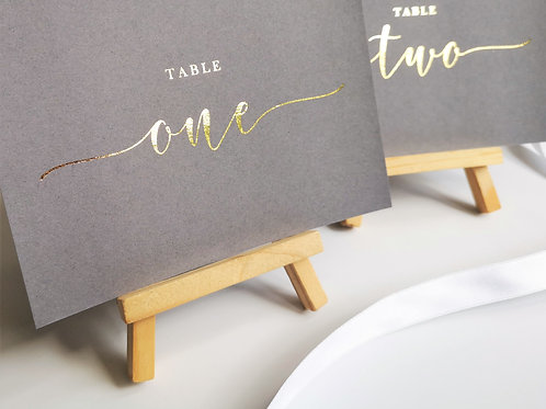 A6/A5 grey table number cards | Rose gold foil