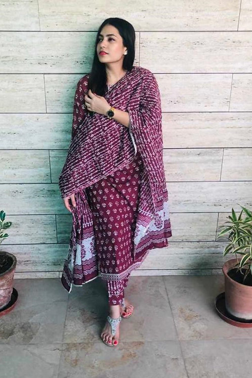 Magenta Printed Stitched Suit