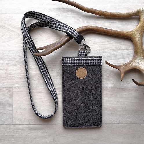 Phone sleeve with neck strap - stony grey