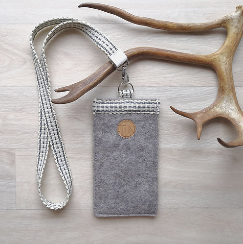 Phone sleeve with neck strap - winter grey