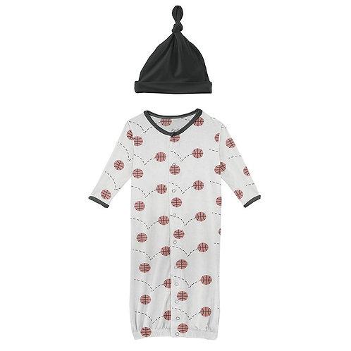 Print Gown Converter & Knot Hat Set Natural Basketball