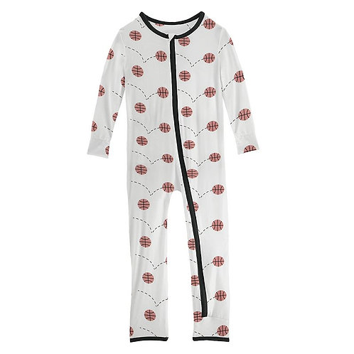 Print Coverall with Zipper Natural Basketball