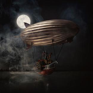 Going home again-steampunk-airship-moonl