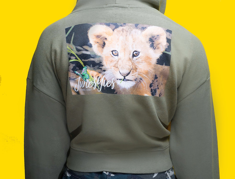 Green Lion cropped Hoodie