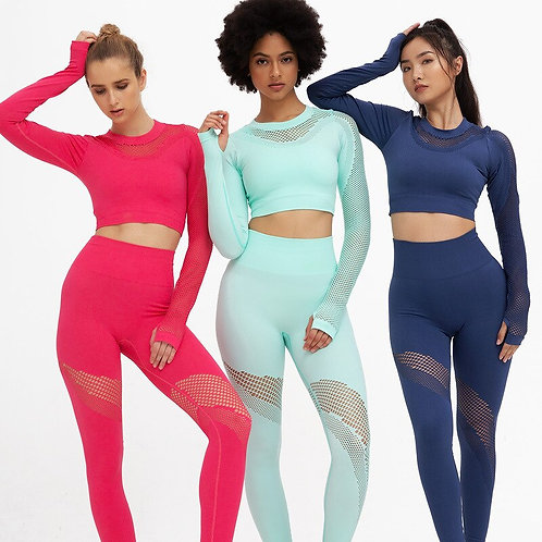 Women Sport Suit Hollow Out Yoga Set Lg Sleeve Crop High Waist  Seamless