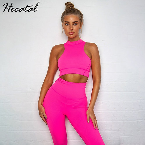 Hecatal Solid Workout Clothes for Women Yoga Set Sports Wear for Women Sport Sts