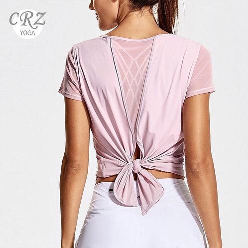 CRZ YOGA Women's Yoga Workout Mesh Shirts Activewear Sexy Open Back Sports Tops