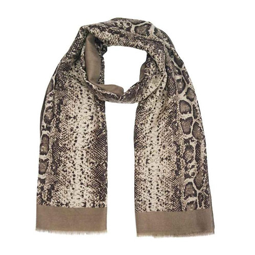 Mamba Beauty Snakeskin Scarf in Taupe