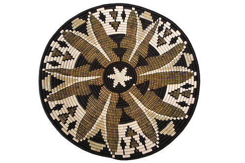 """27"""" Extra Large Black Fleur Plate Woven Wall Art Plate"""