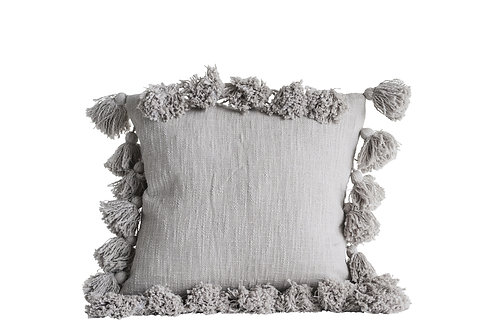 Gray Tassel Pillow