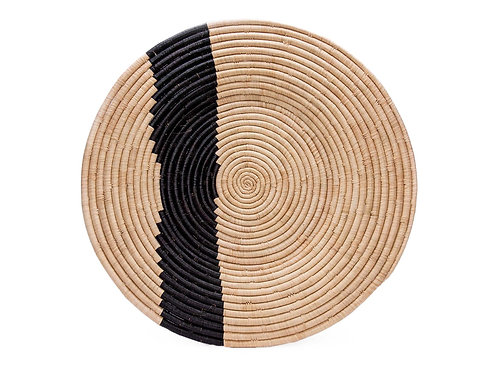 """28"""" Extra Large Striped Black & Natural Wall Plate"""