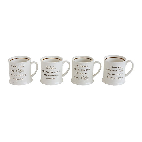 Coffee Quotes Mugs - Set of 4