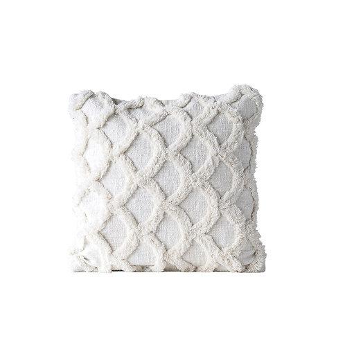 Scallop Pillow- White Chenille