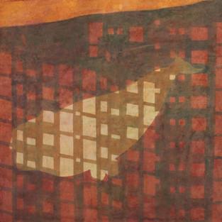 Am Abend, 50 x 50 cm, Koreanisches Pigment auf Maulbeerbaumpapier, 2008