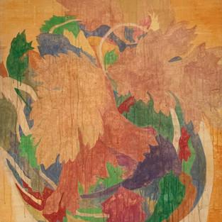 Koriander, 133 x 84 cm, Koreanisches Pigment auf Maulbeerbaumpapier, 2020