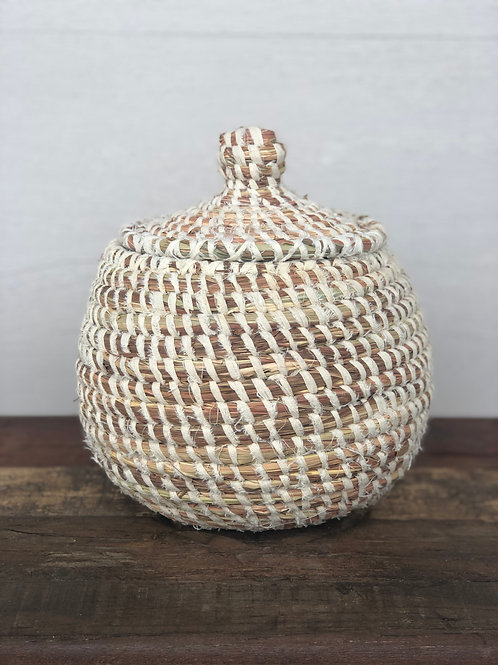 Fabric Round Lidded Basket