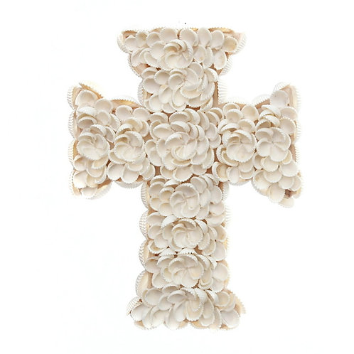 Decorative Floral Shell Cross