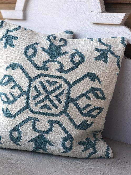 Handloom Kilim Cushion Seafoam