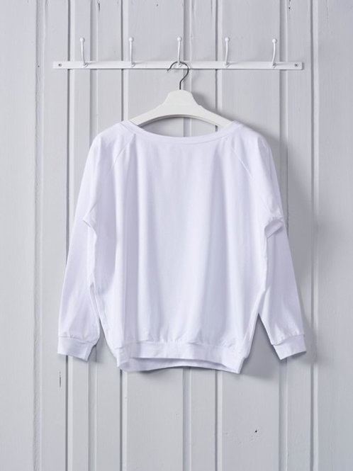 White Raglan  Sleeve Slouch Top