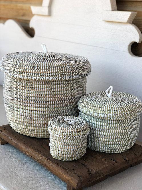 Lidded Woven Baskets Set of 3