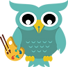 final animate fat owl teal holding art .