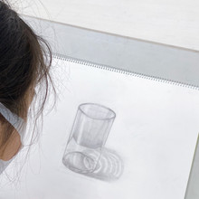 ガラスコップ 中学1年生。制作の様子