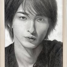 人物 鉛筆画 生徒さん作品。 芸能人の写真を使用して制作させていただきました。